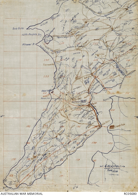 Contemporary map of the Gallipoli peninsula