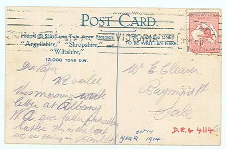 Back of postcard SS Wiltshire