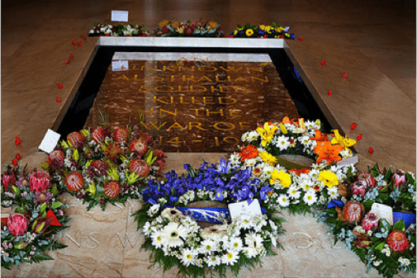 Wreaths laid on the Tomb of the Unknown Australian Soldier