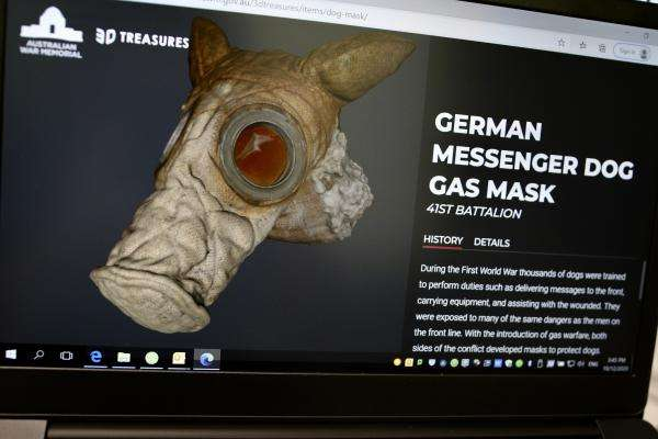 3D Treasure screen capture featuring WW1 gas mask for a dog