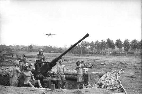 Milne Bay, Papua, September 1942: a Bofors gun position manned by the 2/9th Light Anti-Aircraft Battery, Royal Australian Artillery, at Gili-Gili airfield. In the background a Kittyhawk is about to land. AWM 026629