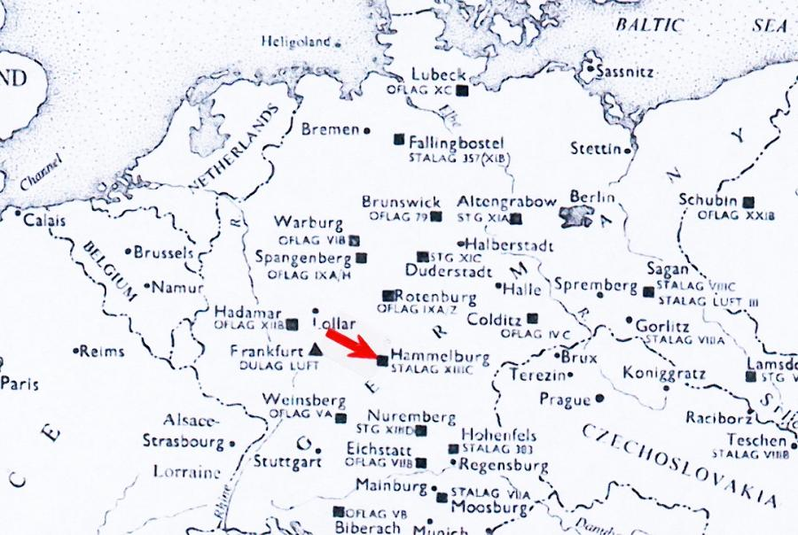 Location of Stalag XIII C prisoner of war camp in Germany