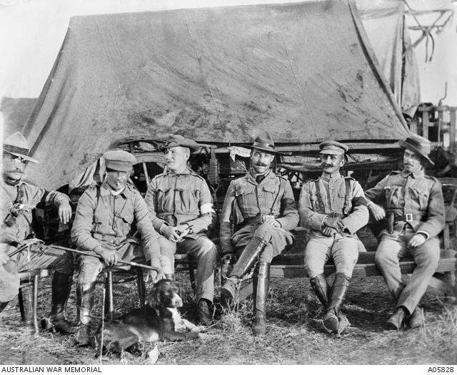 A group portrait of the officers of the Bushveldt Carbineers. From left to right they are: Lieutenant Peter Handcock, Lieutenant Harry Morant, unknown, Captain Frederick Hunt and Captain Alfred Taylor.