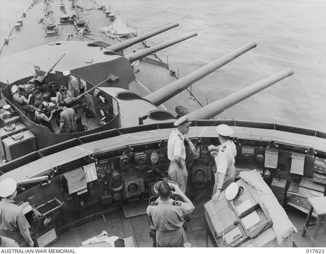 Captain Dechaineux on the bridge of HMAS Australia in September 1944.