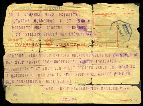 Telegram to Sergeant Vance Drummond's mother, which was received with much happiness
