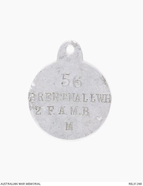 "identity disc stamped with the service number ""56"", ""Brenthall W H"", abbreviation for the unit 2nd Field Ambulance, and ""M"" for Methodist."