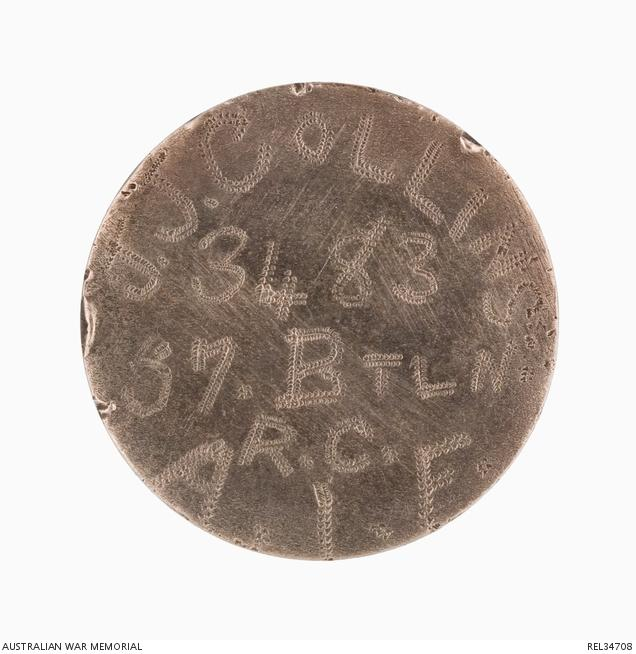 French coin worn as an identity disc by Joseph John Collins, with one side ground down and the soldier's details engraved.