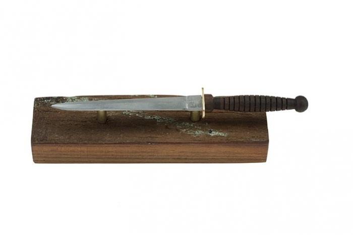 MV Krait: Australian Army Stiletto (AAS) knife, miniature replica with timber stand
