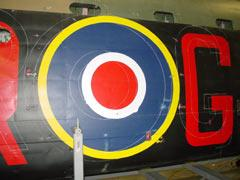 "Chalkline marking out of the position of 1943 ""ARG"" markings on starboard side of fuselage"