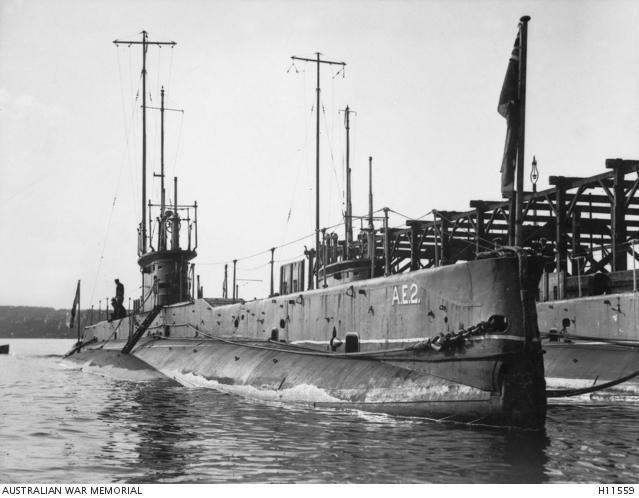 Royal Australian Navy submarines AE1 and AE2 in Sydney Harbour, c. 1915. H11559