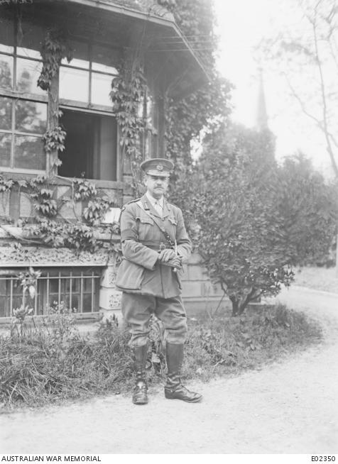Major General John Monash photographed at Glisy, Villers-Bretonneux area, 25 May 1918.