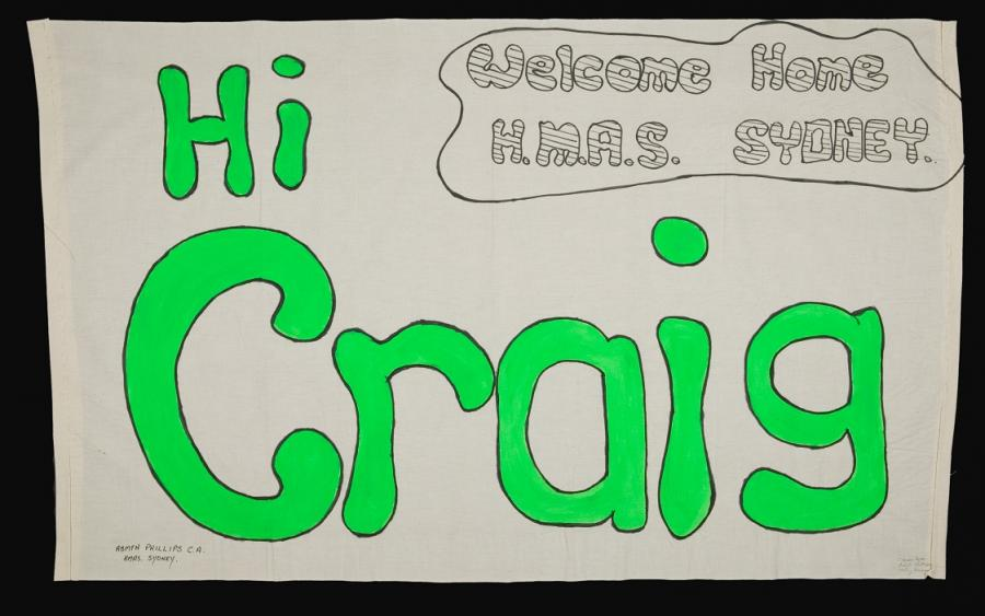 Homemade banner for Able Seaman Craig Phillips