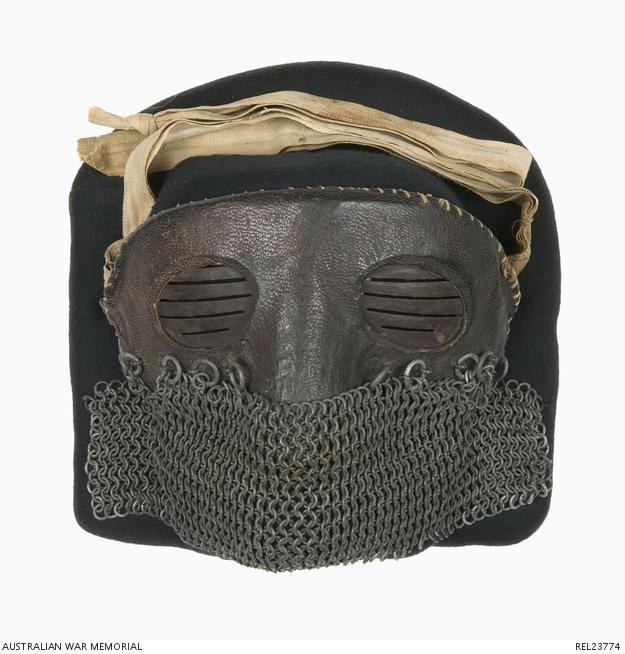 Tank crewmans protective chain-mail face mask