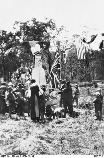 Nannup, WA. 11 November 1918. An Armistice Day ceremony in progress at the WW1 War Memorial.