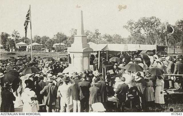 Toogoolawah, Queensland. The unveiling of a WWI War Memorial with 300 names on the Honour Roll.