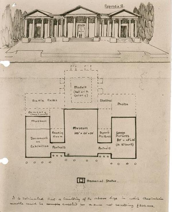 Charles Bean's 1919 sketch of his proposal for the Memorial, file AWM170 1/1
